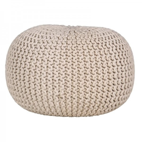 pouf boule en tricot coton blanc cru boisnature 39 l. Black Bedroom Furniture Sets. Home Design Ideas