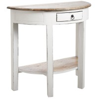 Table console demi-lune en bois blanc