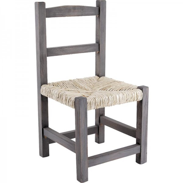 petite chaise enfant en bois gris avec assise en paille boisnature 39 l. Black Bedroom Furniture Sets. Home Design Ideas