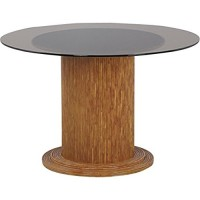 Table ronde en verre Ø 120 cm + pied de table en rotin