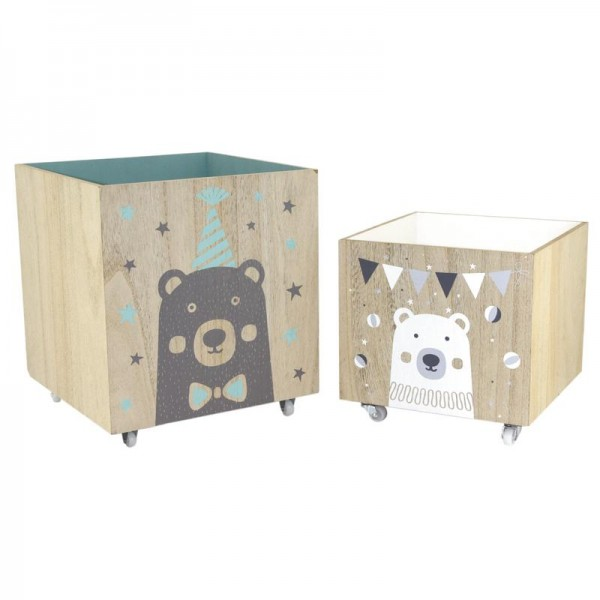coffre jouets en bois roulettes boisnature 39 l. Black Bedroom Furniture Sets. Home Design Ideas