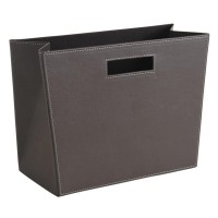 Porte-revues rectangulaire en simili cuir marron