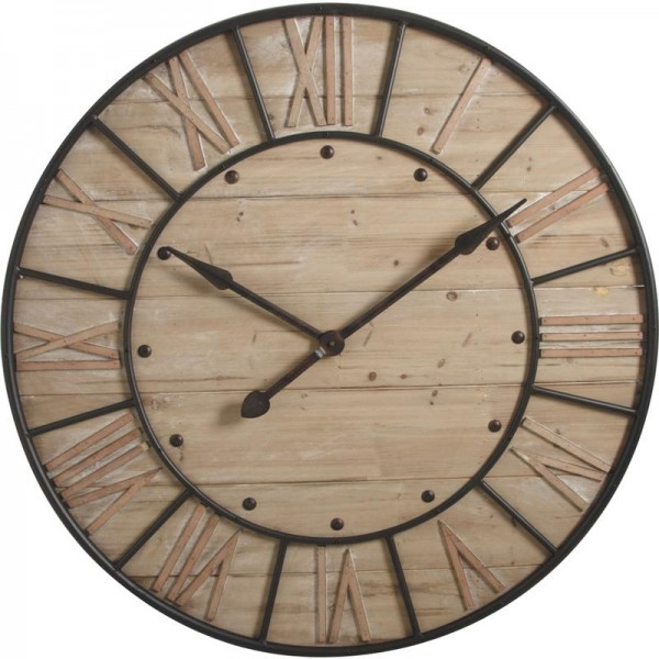grande horloge murale ronde en bois boisnature 39 l. Black Bedroom Furniture Sets. Home Design Ideas