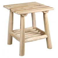 Table d'appoint carrée en bois brut naturel