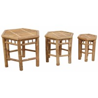 Lot de 3 tables d'appoint hexagonales en bambou