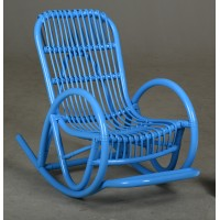 Rocking-chair enfant en rotin bleu