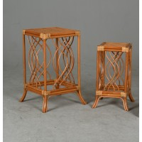 Set de 2 tables sellettes gigogne en rotin