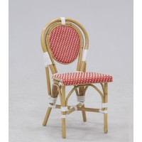 Chaise bistrot en rotin assise PVC rouge